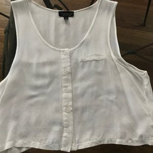 TopShop - Cropped, Button Down, White, Tank Top